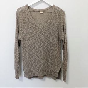 Wild Pearl Oversized Marled Knit V Neck Sweater